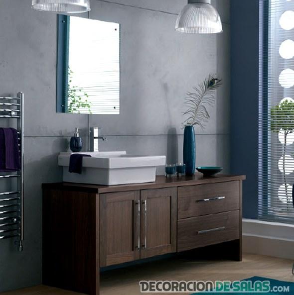 mueble de lavabo en madera oscura