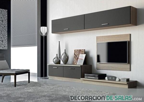 mueble de salón con televisión anclada