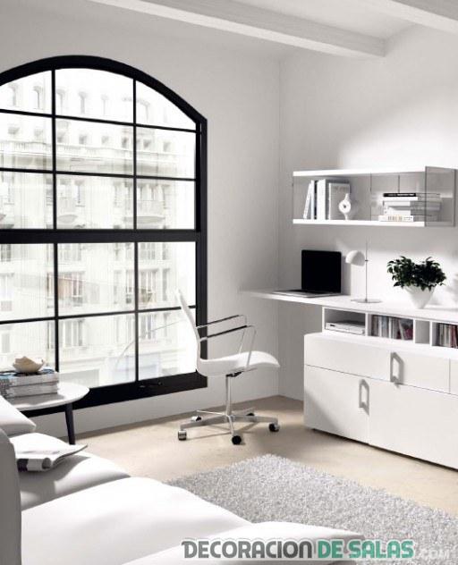 mueble del salón en blanco con escritorio