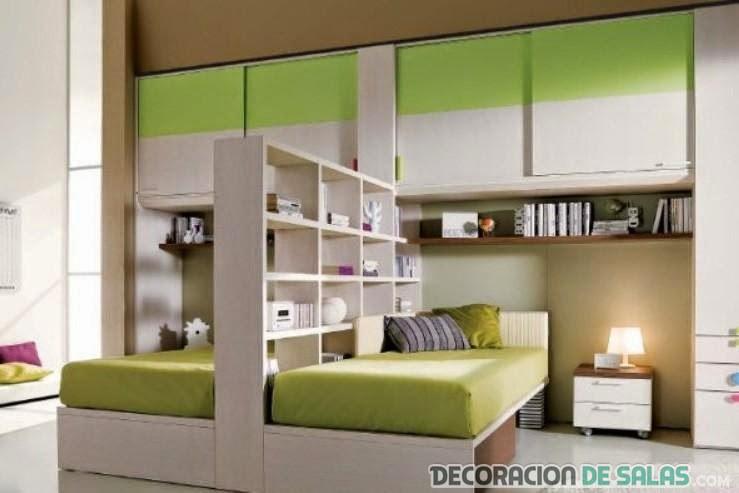 mueble doble para camas gemelares