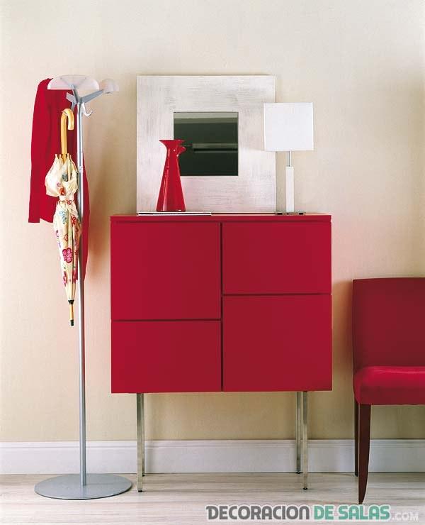 mueble recibidor en color rojo