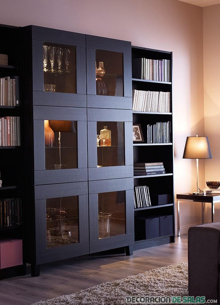mueble salón color negro vertical