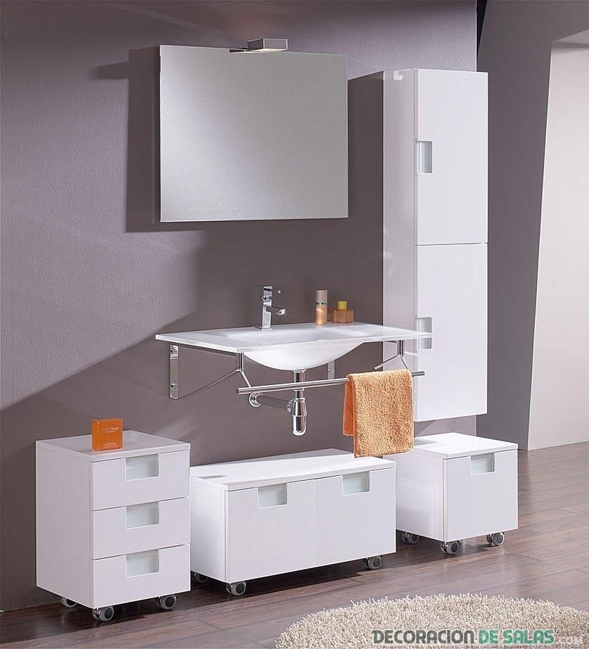 muebles auxiliares de baño en color blanco