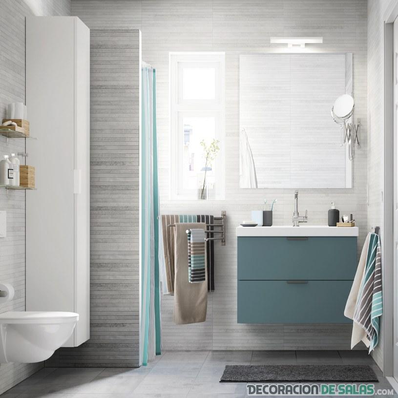 muebles de baño con pinceladas en color ikea