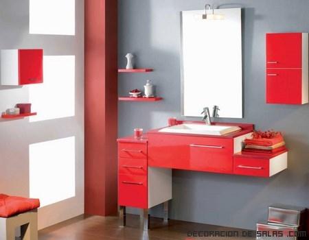 muebles rojos y blancos modernos