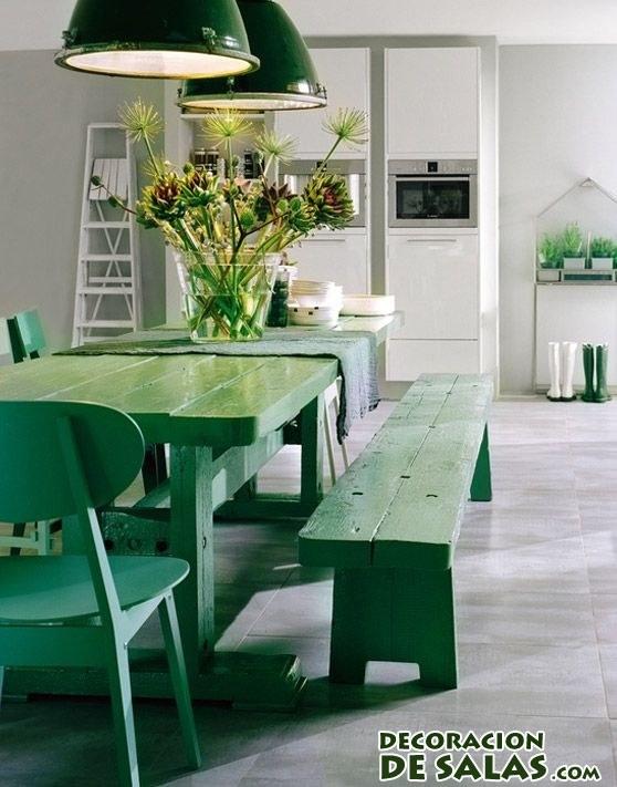 muebles de la cocina en verde