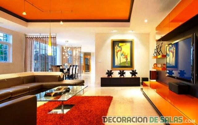 muebles en color naranja para salón