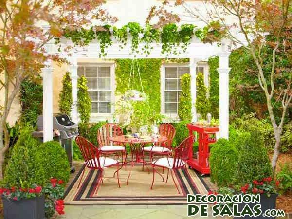 muebles terraza rojos