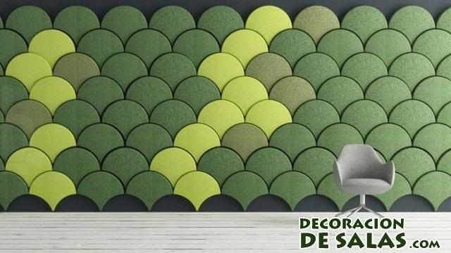 paneles acústicos en color verde