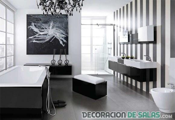 papel de rayas para baños