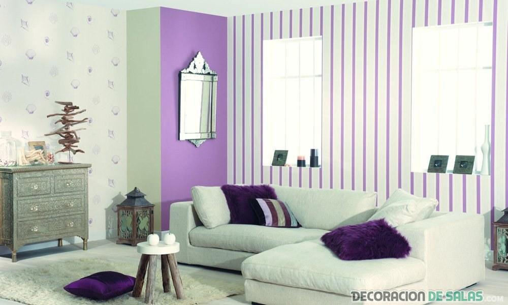 papel pintado a rayas para salón