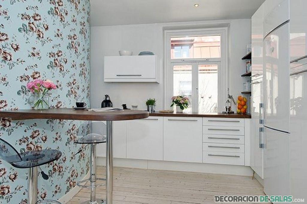 papel pintado con flores para cocina