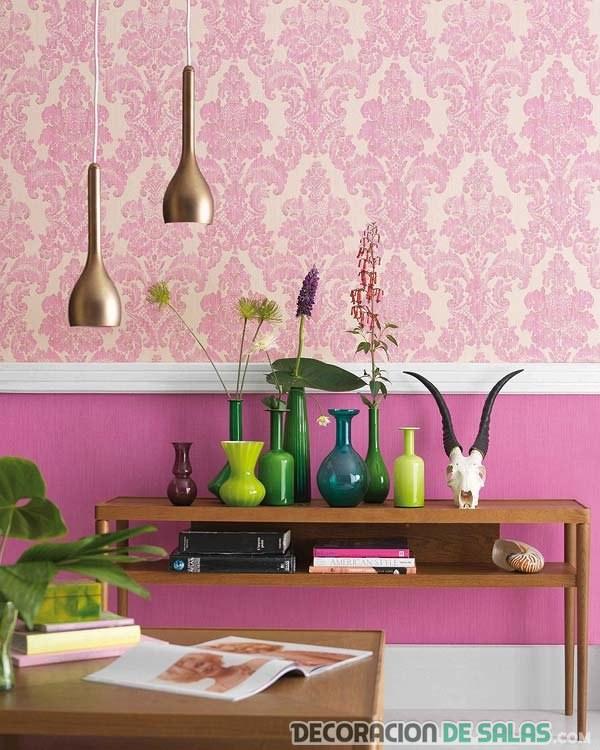 papel pintado para pared en color rosa