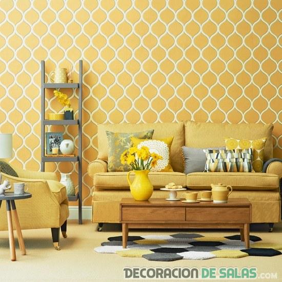 papel vintage en amarillo para pared de salón