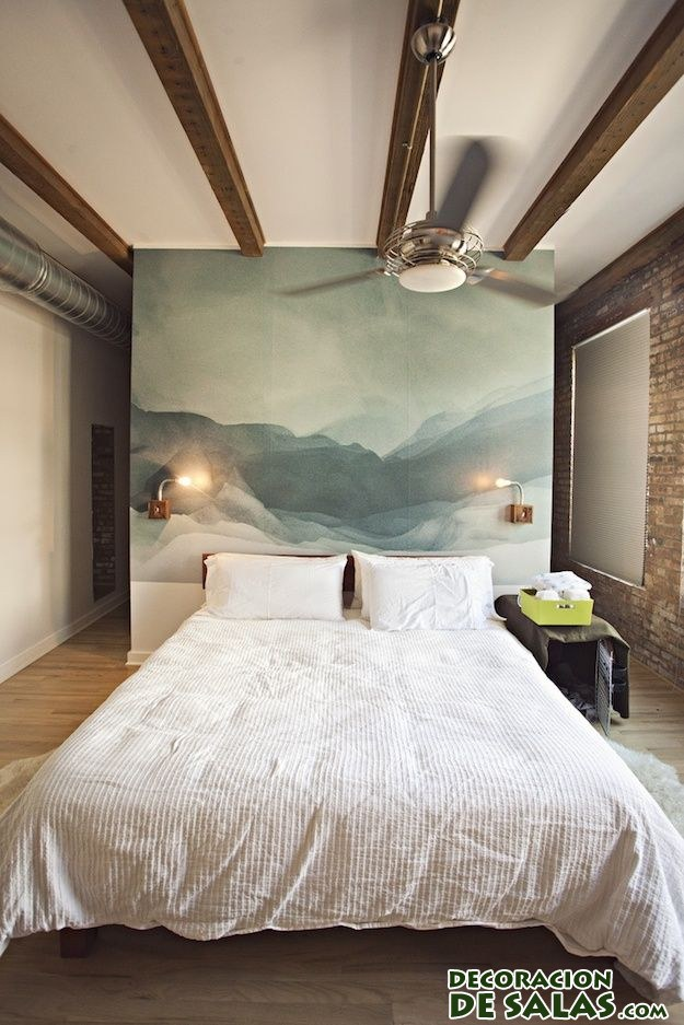 pared de acuarela en dormitorio