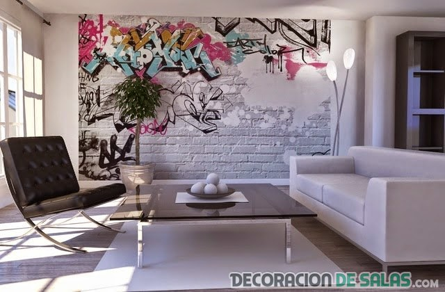 pared de ladrillo con graffiti