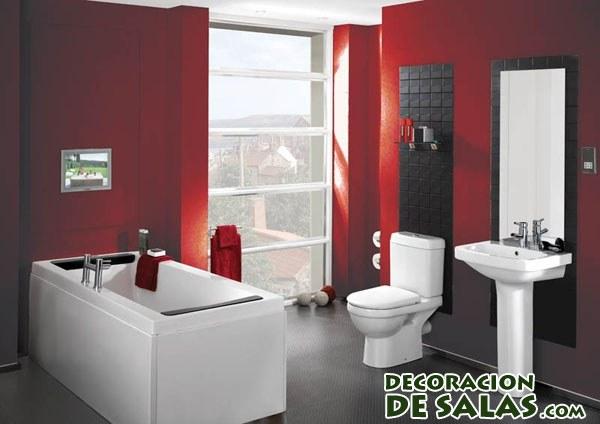 paredes de baño en rojo