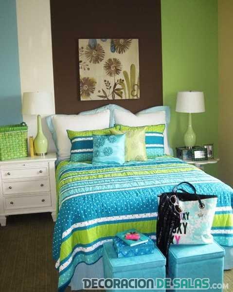 paredes de dormitorio en verde