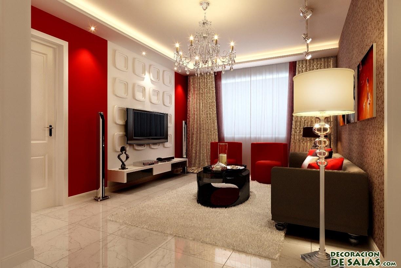 paredes de salón combinadas en rojo