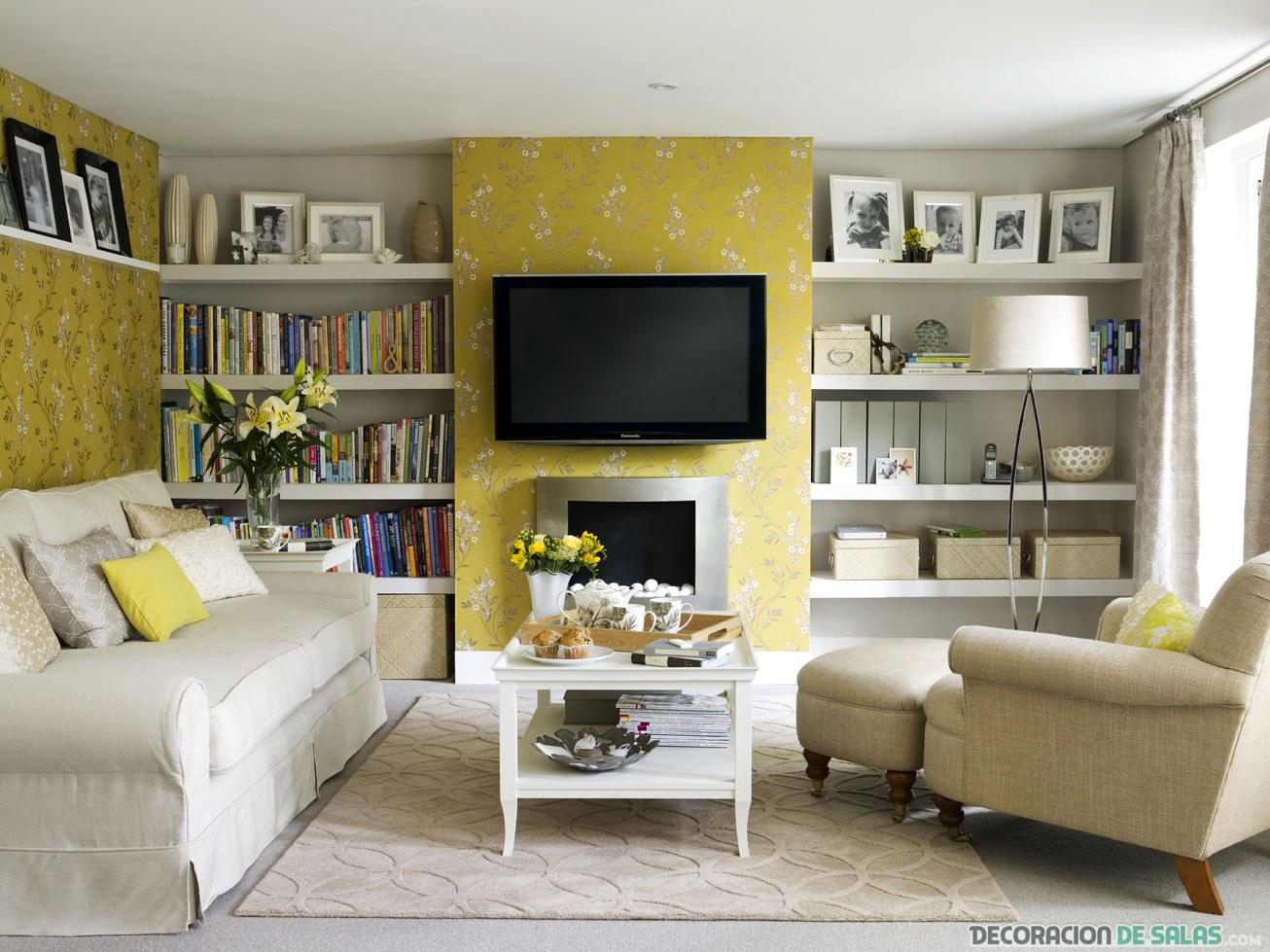 paredes de salón en amarillo claro