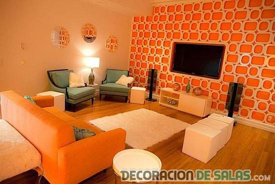 Paredes en color naranja para salones