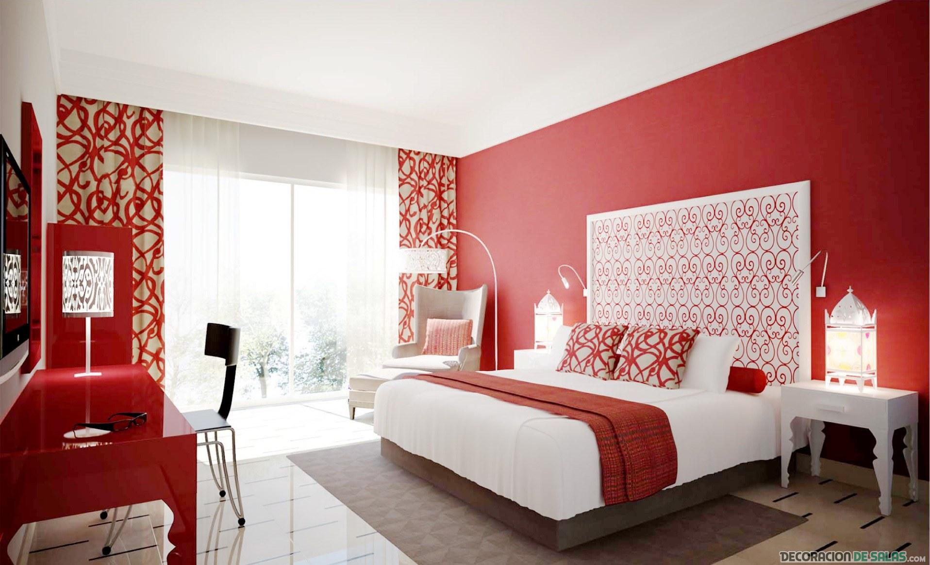 paredes en color rojo de dormitorios