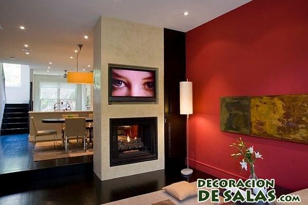 paredes en rojo para habitaciones pequeñas