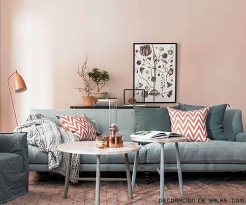 salones combinados en rosa y gris