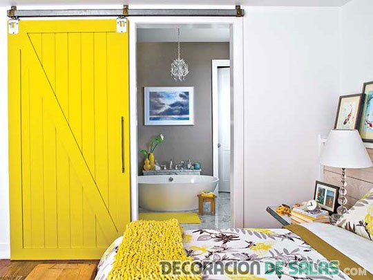puertas correderas en color amarillo