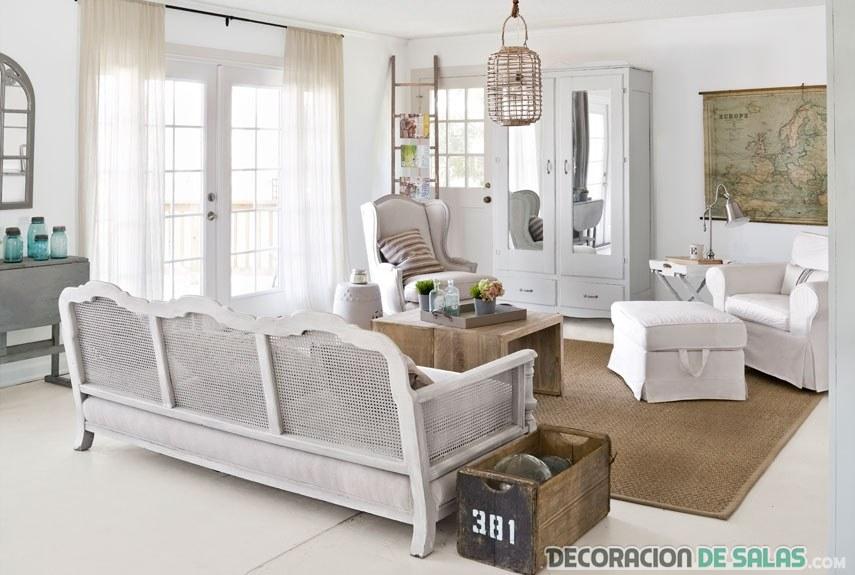 relajado salón rústico en blanco
