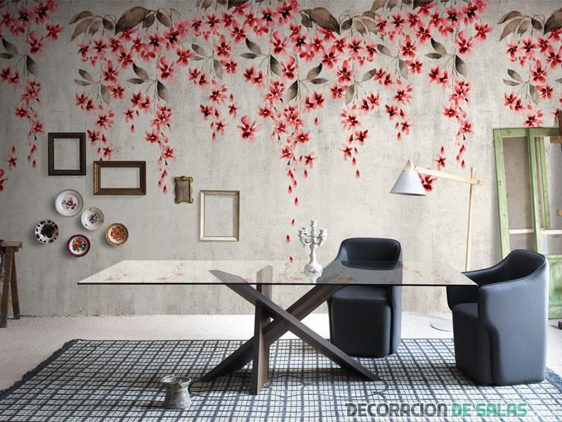 revestimiento floral en pared superior
