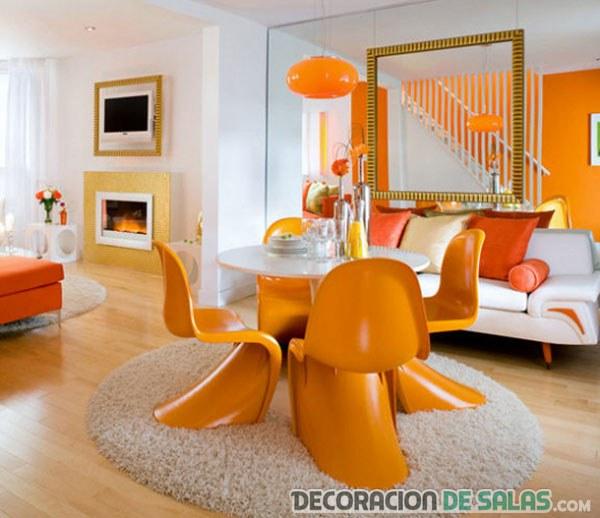 sala comedor en color naranja