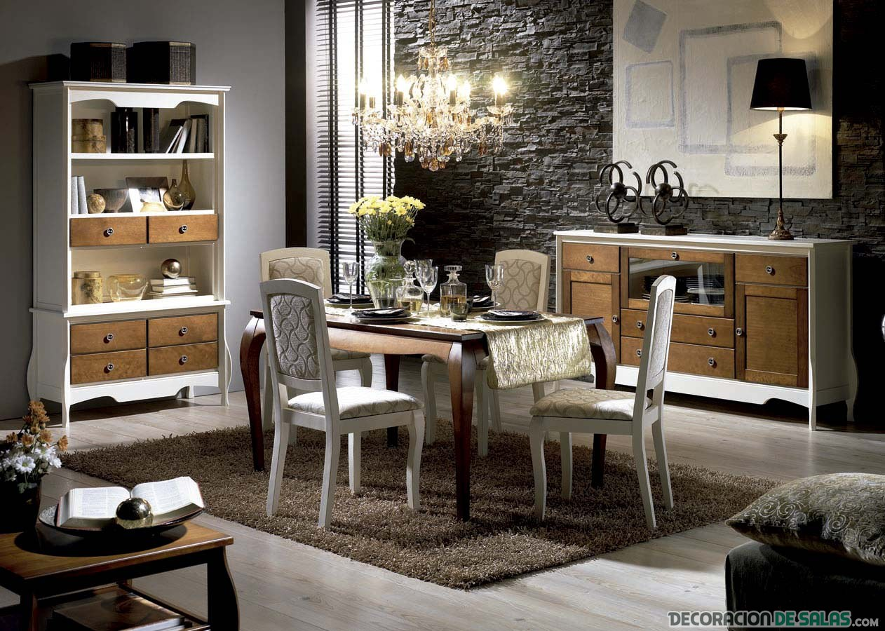 sala comedor vintage en tonos oscuros