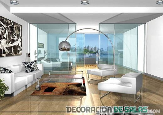 sala con cristales y estilo contemporáneo