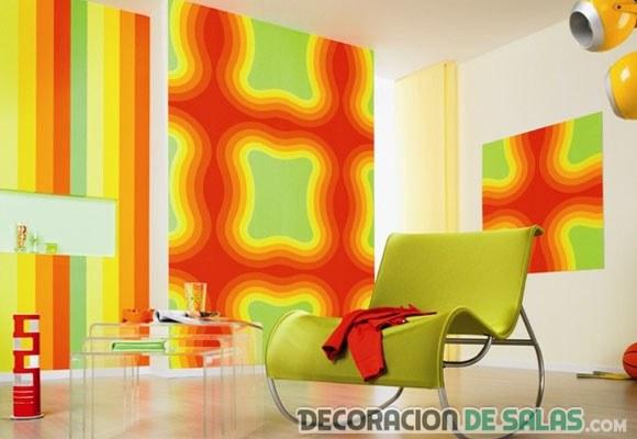 sala con decoración flúor en las paredes