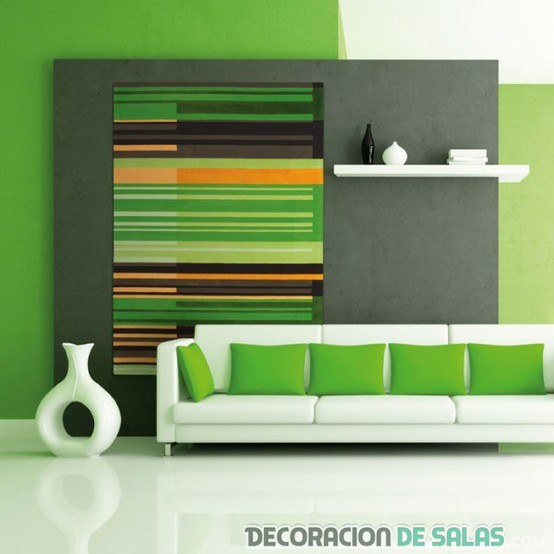 sala de estar verde con pared original