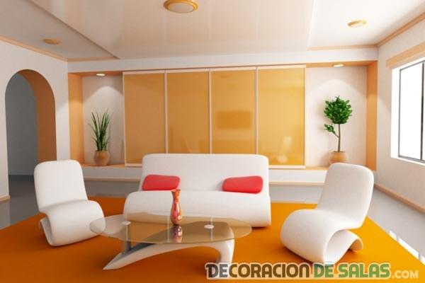 sala minimalista en naranja
