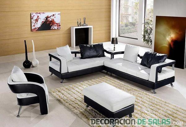 sala moderna en blanco y negro