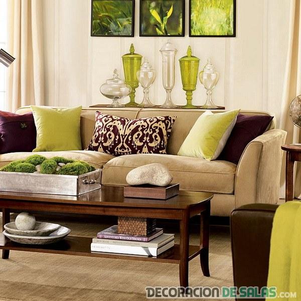 Salones Combinados En Verde Y Marrón Decoración De Salas