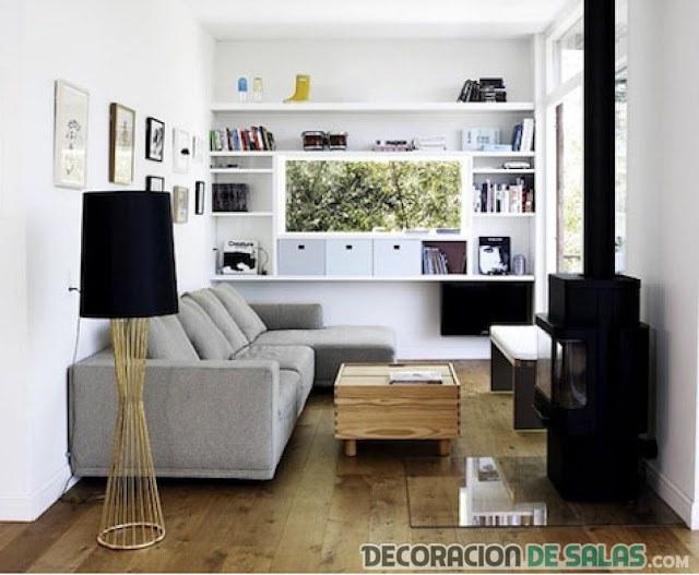 sala pequeña en colores neutros