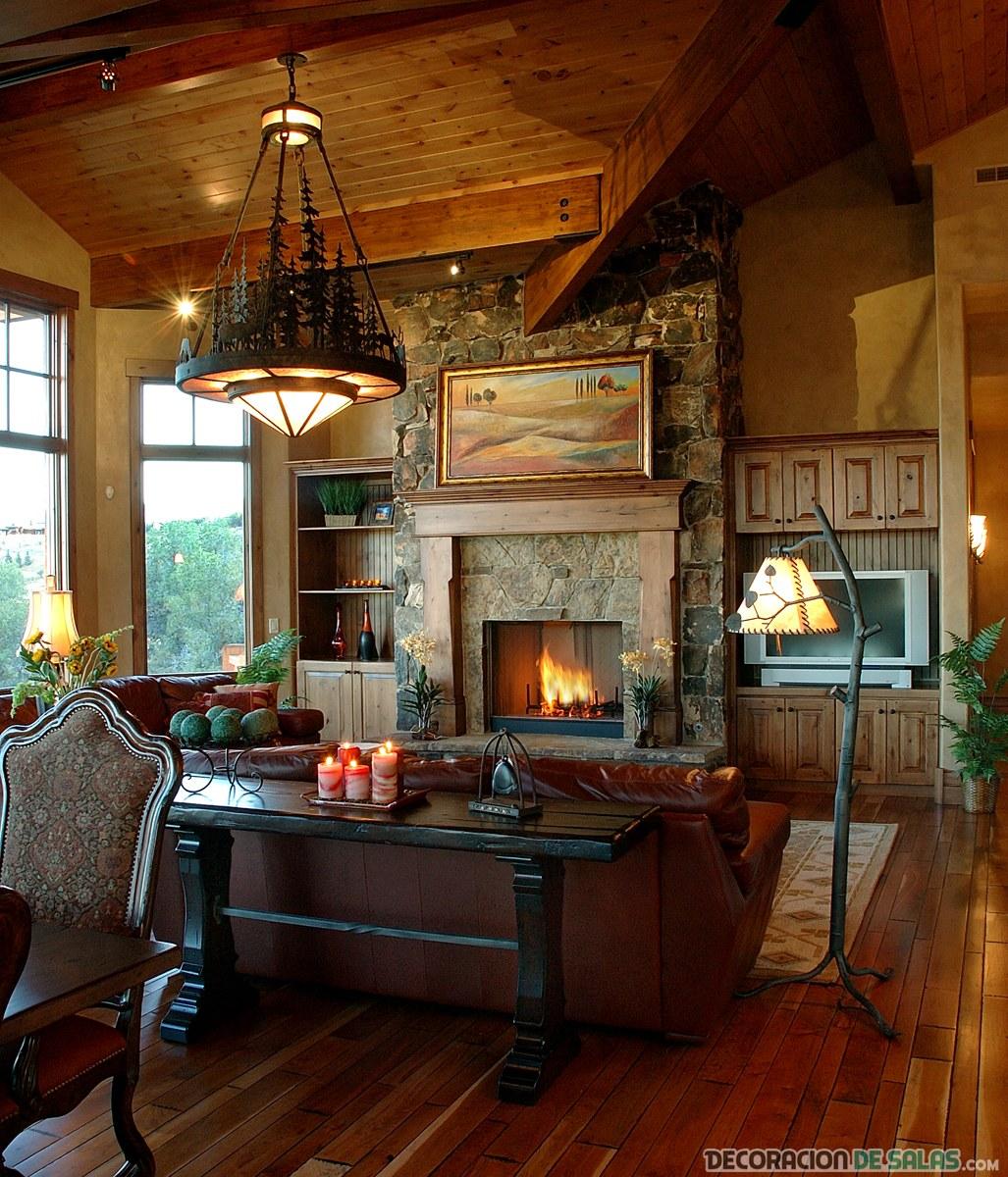 sala rústica con suelos en madera