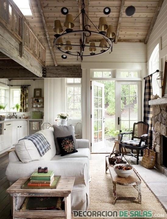 sala rústica en color blanco