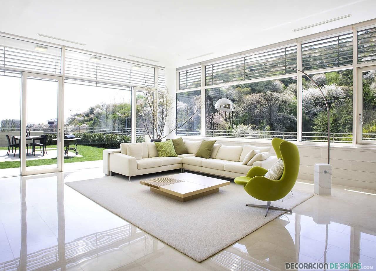 salón abierto con color verde