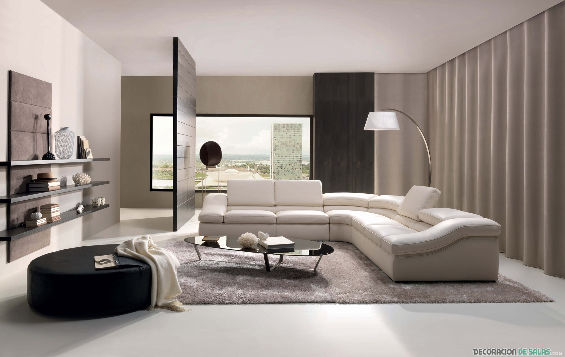 salón abierto en color beige