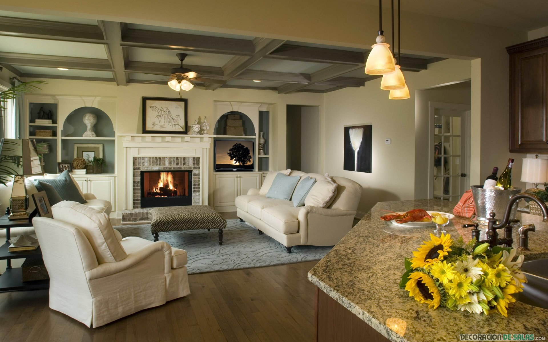 salón amplio cálido para invierno