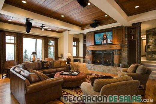 salón amplio con estilo rústico