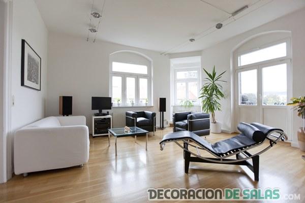 salón amplio minimalista y masculino