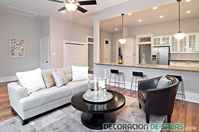 salón amplio y cocina moderna