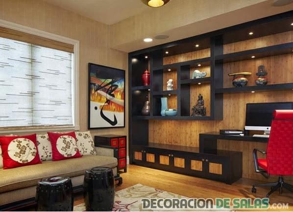 salón asiático con estantería en negro
