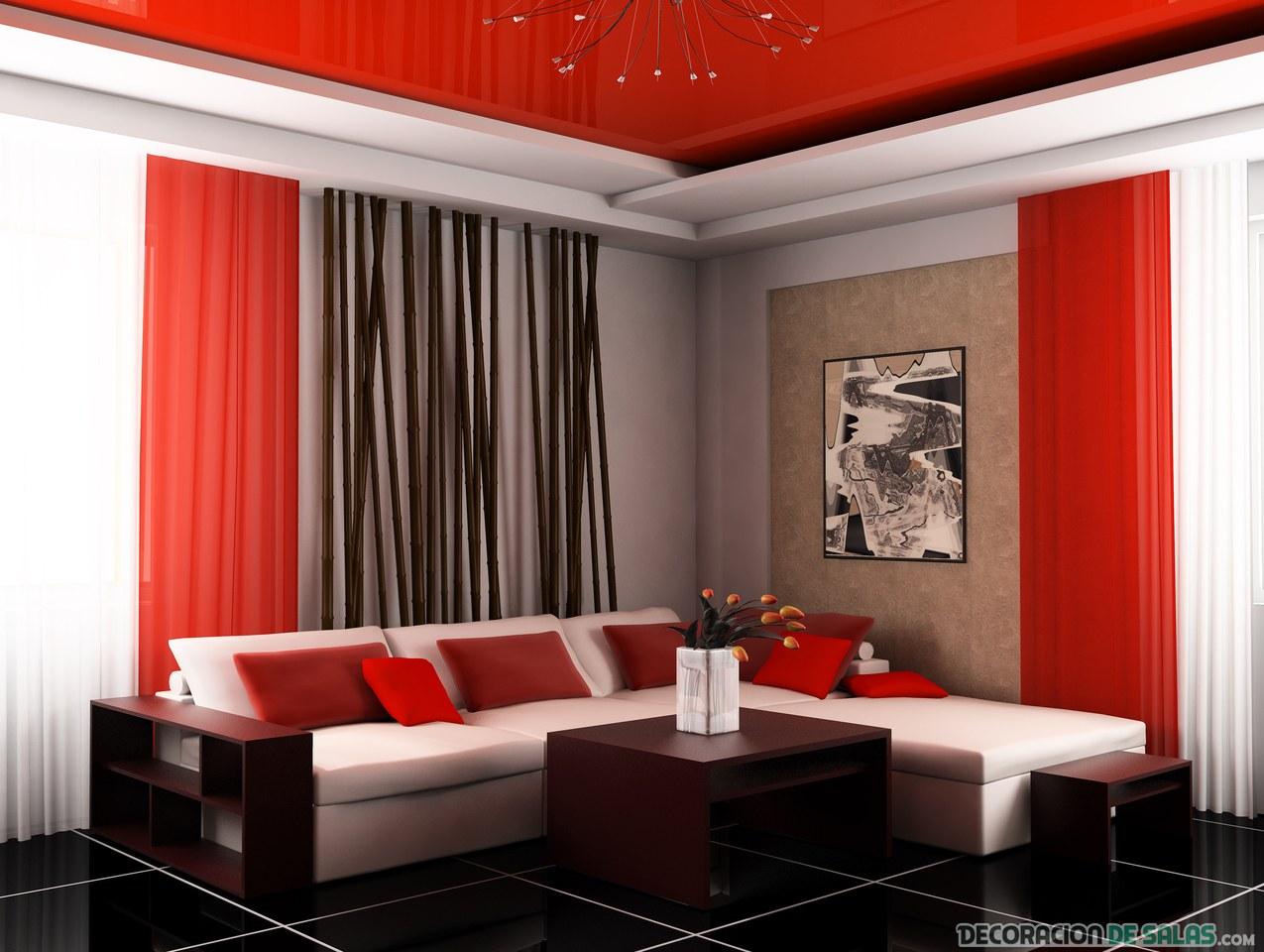 salón bicolor en negro y rojo